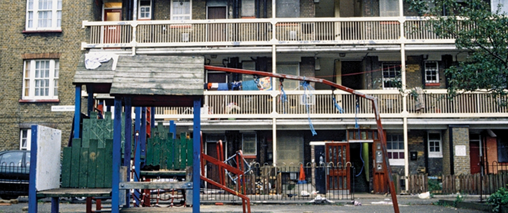 Playground on housing estate, East London, UK (Photo by Universal Images Group via Getty Images)